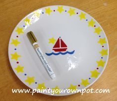 Sailboat baby signature plate. 2015.