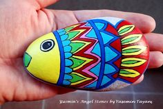 Hand Painted Stones Fish and Flower by StoneArtbyYasmin on Etsy