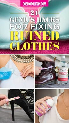 You spilled wine on your shirt, scuffed your favorite pair of heels, or got a zipper stuck — no worries! Use these hacks and tips to fix all your wardrobe malfunctions and fashion goofs. Click through for 21 fixes that will saved your ruined clothing!