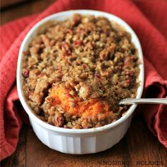Pecan Streusel Sweet Potato Casserole - Made this for Thanksgiving. I followed the recipe exactly and it was delicious! Soooo much better than the marshmallow topped stuff... I used 2 huge sweet potatoes... Baked it in a 1-1/2 quart casserole dish... Would definitely make again!