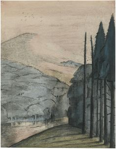 Paul Nash (British, 1889-1946),A Dawn, c.1912-13. Chalk, pen and ink and watercolour, 38.5 x 30.5 cm.