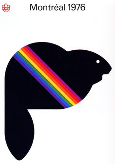 Mascot – Montréal 1976 Olympic Poster    Design: Yvon Laroche, Pierre-Yves Pelletier & Guy St.Arnaud, Graphics and Design Directorate,  Client: COJO 76  Production: Ronald, Briton Timermann (RBT Ltd.)  Date: 1976