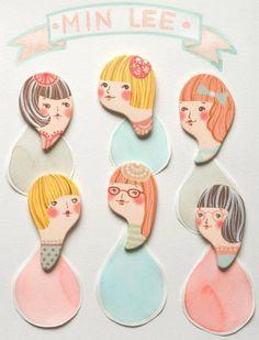 Porcelain head brooches by Min Lee - #ImaginativeBloom #handmade #etsy #brooches