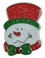 Ball Marker Clip with Sparkled Snow Man Ballmarker