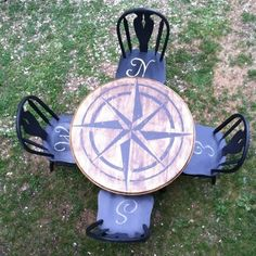 Sentimental Redo: Compass Rose Table (love the chair seats) Furniture Projects, Furniture Makeover, Diy Furniture, Repurposed Furniture, Painted Furniture, Compass Rose, Beach House Decor, Coastal Decor, Sweet Home