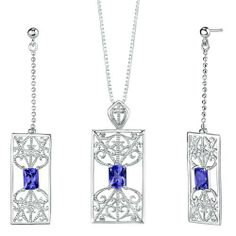 Radiant Cut Sapphire Pendant Earrings Set in Sterling Silver Rhodium Finish . $50.99. Save 65% Off!