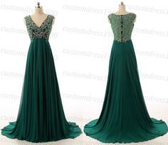 Sexy Green Beading/Crystal Chiffon Handmade by customdress1900