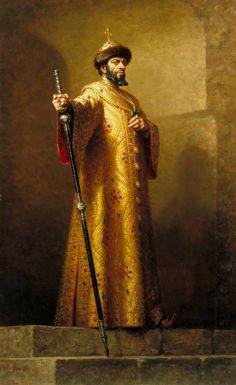 Portrait of Boris Christoff (1914–1993), as Boris Feodorovich Godunov (c.1551- 23 Apr 1605) in opera 'Boris Godunov' by Modest Mussorgsky/ Portrait 1965 by Leonard Boden.