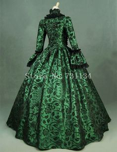Green Print Brocade Victorian Dress Georgian Period Gown Vintage Steampunk Clothing Renaissance Historical Party Dress Custom