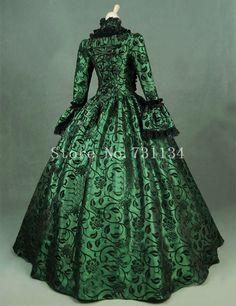 Green Print Brocade Victorian Dress Georgian Period Gown Vintage Steampunk Clothing Renaissance Historical Party Dress Custom