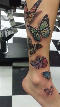 Butterfly tattoos, 3 D Cool Wrist Tattoos, Butterfly Tattoo On Shoulder, Butterfly Tattoos For Women, Butterfly Tattoo Designs, Tattoos For Women Small, Forearm Tattoos, Shoulder Tattoo, Sleeve Tattoos, Butterfly Tattoos