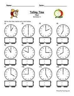 Time Worksheets for Kids. 20 Time Worksheets for Kids. This is A Good Worksheet for Graders or Whatever is A Clock Worksheets, 1st Grade Math Worksheets, First Grade Math, Kids Worksheets, Number Worksheets, Alphabet Worksheets, Grade 2, Second Grade, Have Fun Teaching