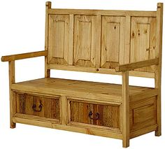 san carlos imports offers a huge selection of rustic bench, wooden bench, wood bench with drawers, solid bench and pine wood bench. Rustic Pine Furniture, Rustic Wood Bench, Mexican Pine Furniture, Home Furniture, Furniture Ideas, Bench With Drawers, Southwestern Home, Wood Storage Bench, Bench Designs