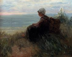 Jozef Israels (1824-1911) A Fishergirl On A Dunetop Overlooking The Sea Oil on panel