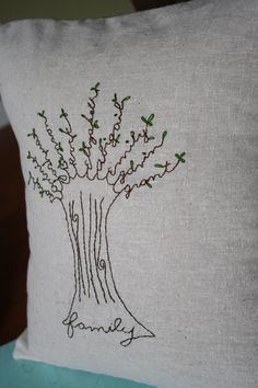 Custom Embroidered Family Tree Pillow by emilymacg on Etsy, $75.00