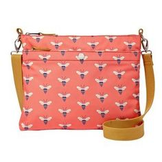 Fossil handbag with bee design.