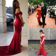 red long off the shoulder prom dress,2017 Red Sexy Mermaid Off Shoulder Low Zipper Back Elastic Satin Prom Dress with High Side Slit Cheap Evening Gown