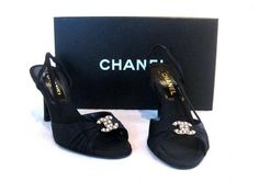 "CHANEL (black OPEN TOE SLING BACK HEELS WITH MOTHER OF PEARL ""CC"" LOGO SZ~37.5"