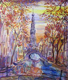 Automne à Amsterdam - acrylique sur toile - Elena Polyakova (1970-)