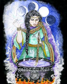 Cerridwen Cauldron Celtic Goddess 8x10 Print Mythic Art. $18.00, via Etsy.