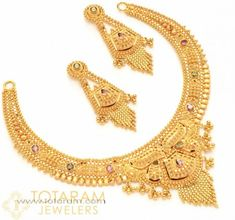 22 Karat Gold Necklace - Drop Earrings Set Has pink & green stones. Contains Necklace & Ear hangings. Gold Jewellery Design, Gold Jewelry, Gold Necklaces, Jewelery, Necklace Set, Baby Necklace, Stone Necklace, Bridal Necklace, Bridal Jewelry