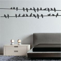 Bird Wires Wall Decal Walls Need Love http://www.wallsneedlove.com/bird-wires/#.UWy-WMrJLN4