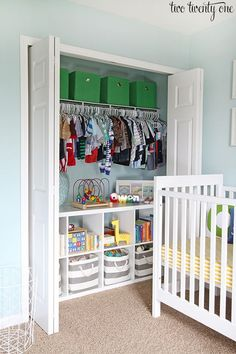 Excellent tips to make store for baby's clothes by baby closet organization ideas baby closet organization ideas organized nursery closet! KDFWWYA:separator:Excellent tips to make store for baby's clothes by baby closet organization ideas Baby Boy Rooms, Baby Boy Nurseries, Kids Rooms, Bedroom Kids, Master Bedroom, Trendy Bedroom, Diy Bedroom, Baby Nursery Ideas For Boy, Toddler Boy Room Ideas