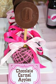 Cowgirl birthday party Caramel Apples (I like this idea instead of candy bags)