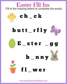 Easter fill in the blank printable