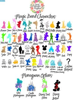 The ORIGINAL Disney Characters Magic Band by SweetGeorgiaDesigns