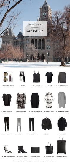 A bit too monochrome and lacking in tops, but a decent packing list.