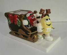 M M Christmas Sleigh Candy Dish RARE Ceramic Mars | eBay