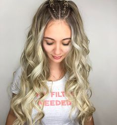 Pigtail Hairstyles, Headband Hairstyles, Pretty Hairstyles, Straight Hairstyles, Braided Hairstyles, Blonde Ombre Hair, Light Blonde Hair, Ombre Hair Color, Hair Scarf Styles