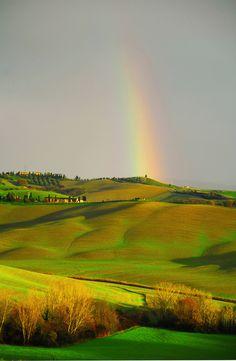 Rainbow over Tuscany, Italy