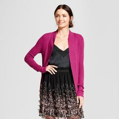 Women's Cocoon Cardigan - A New Day Magenta (Pink) L