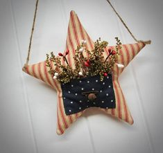 Handcrafted Fabric Primsicals & Functional Copper Decor by CozyExpressions Fourth Of July Decor, 4th Of July Celebration, 4th Of July Decorations, July 4th, Hanging Fabric, Hanging Wall Art, Patriotic Crafts, Patriotic Quilts, July Crafts