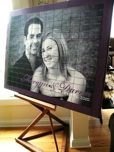 Love this idea for table place cards....would be really cool to have a different pic under...
