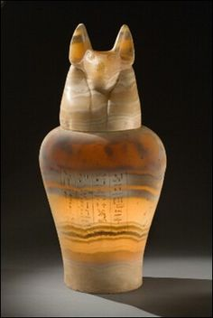 Anubis Alabaster canopic Jar - c. Ancient Egyptian Artifacts, Historical Artifacts, Ancient Aliens, Ancient History, European History, American History, Anubis, Canopic Jars, Egypt Art