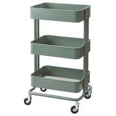 RÅSKOG Utility cart – gray-green – IKEA Kitchen – home accessories Ikea Raskog Trolley, Raskog Utility Cart, Raskog Ikea, Ikea Cart, Ikea 3 Tier Cart, Kitchen Ikea, Kitchen Storage, Storage Spaces, Boho Kitchen