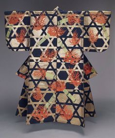 Noh theater robe (atsuita) for male role with alternating blocks of color in blue and gold and overall design of torches and flames over latticework in red and green silk and gilt paper discontinuous supplementary patterning wefts. Japanese Textiles, Japanese Patterns, Japanese Design, Traditional Japanese Kimono, Traditional Dresses, Kimono Design, Textile Design, Geisha, Noh Theatre