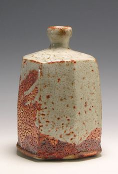 The Oakwood Gallery Website Walter Keeler. SQUARED BOTTLE VASE    Shino glaze over red iron slip    Dimensions: h. 22.0 cm  Reference No LH97