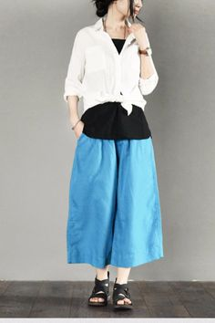 India's Blue Cotton Wide-legged Pants Fashion Trousers Causel Women Clothes