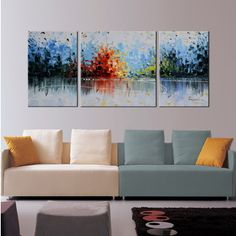 Hand-painted 'Heaven Blue' 3-piece Gallery-wrapped Canvas Art Set | Overstock.com Shopping - The Best Deals on Gallery Wrapped Canvas