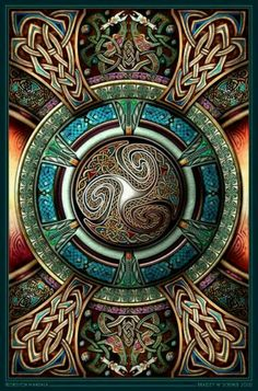 Celtic Knots inspiration mandala zentangle The middle is shaped in the form of the Celtic Triscilion
