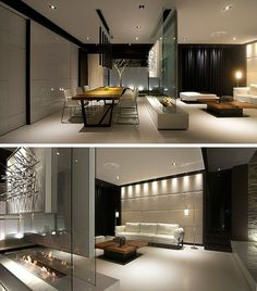 Room Divider Idea – This glass wall supports a TV, an art piece, and has a…