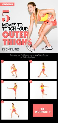 The dynamic, time-based workout will raise your heart rate and get the blood flowing to your thigh muscles for some extra definition — all in five minutes flat.
