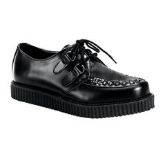 Shoes: 1 Inch MENS SIZING Leather Shoes Creepers Wooven Pattern Rockabilly Black Gothic Shoes