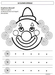 Sur le thème du cirque, la spirale: Clown Crafts, Carnival Crafts, Pre Writing, Writing Skills, Preschool Worksheets, Preschool Activities, Theme Carnaval, Circus Theme, Fine Motor Skills