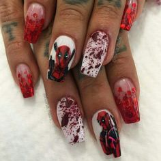 Deadpool nails WIN by  @haha_nails_ on Instagram