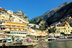 A postcard-perfect colourful vertical town set in the shelter of mountains. Boasting a brilliant contrast of an array of vibrant colours against the dramatic blue of the Mediterranean Sea. Positano in Italy is definitely Amalfi Coast's most picturesque town Travel, Italy, Positano, Amalfi Coast